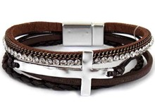 Leather Magnetic Bracelet Brown with cross