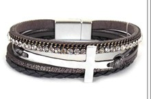 Leather Magnetic Bracelet Grey with cross