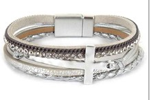 Leather Magnetic Bracelet Silver with cross