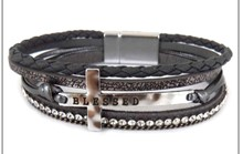 Leather Magnetic Bracelet RGY-VN with cross/Blessed