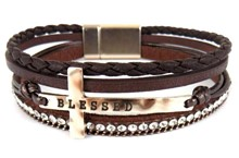 Leather Magnetic Bacelet WGBR with cross/Blessed